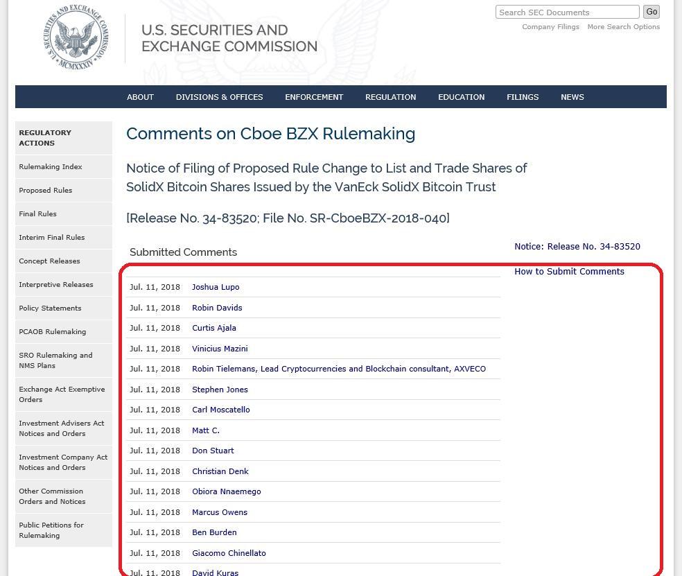 米国証券取引委員会(SEC)へのビットコインETFのコメント